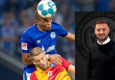 Der deutsche U21-Nationalspieler Malick Thiaw (blaues Trikot), der seit Juli des vergangenen Jahres beim FC Schalke 04 als Profi unter Vertrag steht, gehört zu den Klienten von Kilian Falk. Foto: dpa/Marcel Kusch